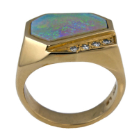 "Men's ""Geometric"" Opal Ring"