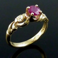 """Antique Flower"" Ruby Ring"